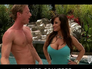 Big boobed brunette MILF Lisan Ann fucks young cock by the pool | brunettecockpoolyoung