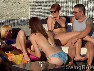 Babes get naughty at outdoors pool party in the swingers mansion | babenaughtyoutdoorpartypoolswingers