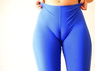 Busty Blonde Teen Working Out In Tight Blue Spandex Bounce!   blondebustyspandextight
