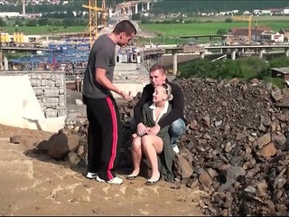 Public fuck of a cute blonde girl by guys at a construction site | blondecutegaypublic