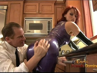 Dominatrix in a latex outfit fucked really hard in the kitchen | kitchenlatex