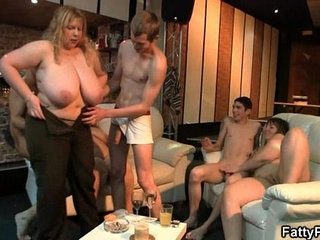Fat blonde rides and sucks cock at party | blondecockfatpartyriding