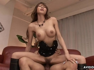 Busty Asian idol wears leather boots while riding a boner | asianbustyleatherriding