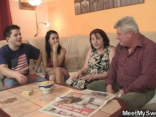 He finds his GF fucking his family   family