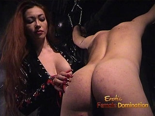 Slim stunner wearing latex has some dungeon fun with a bald stud   bald pussyfunlatexslim