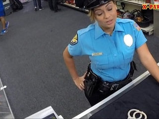 Police officer with huge boobs got fucked in the backroom | huge titsofficer